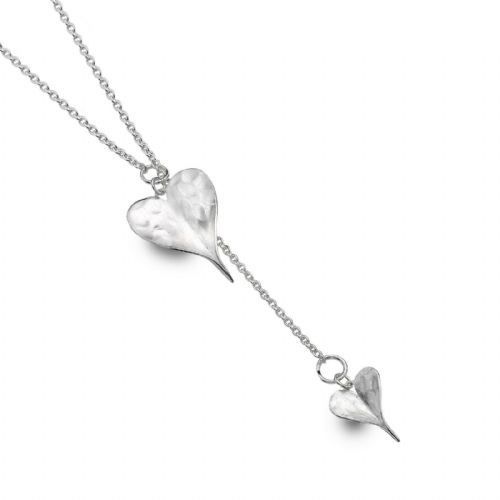 Leaf Lariat Heart Necklace Solid Sterling Silver Hallmark Luxury Box